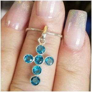 "Jewelry - 1.5ct Swiss Blue Topaz Cross Pendant 1"" long"